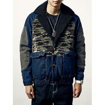 Pocket Camo Insert Padded Denim Jacket