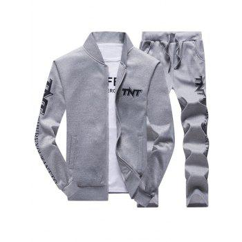 Printed Jacket and Casual Pants Tracksuit