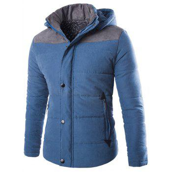 Hooded Zip Up Two Tone Padded Jacket