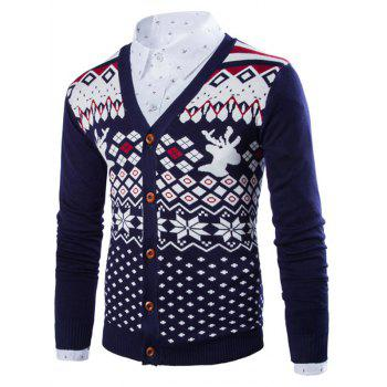 Button Front Deer Snowflake Christmas Cardigan