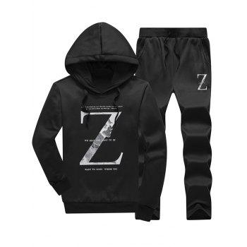 Letter Hoodie and Casual Pants Twinset