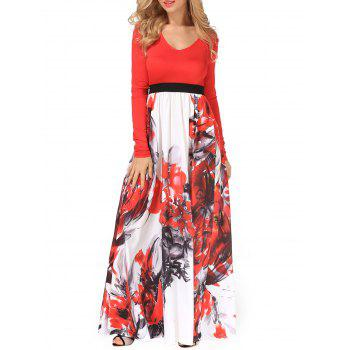 V Neck Flower Painting Maxi Flowing Dress