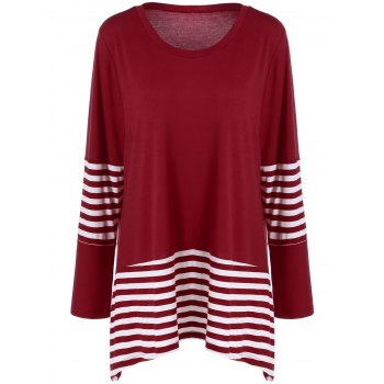 Plus Size Striped Panel T-Shirt