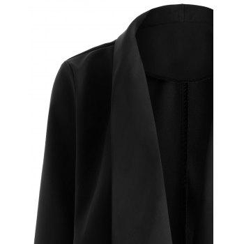 Open Front Shawl Collar Blazer - BLACK BLACK