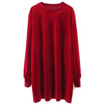 Velvet Long Sleeve Straight Dress - RED RED