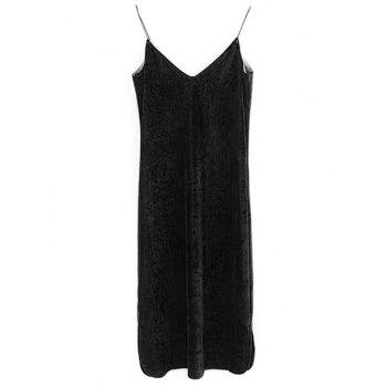 Elastic Strap Velvet Slip Dress