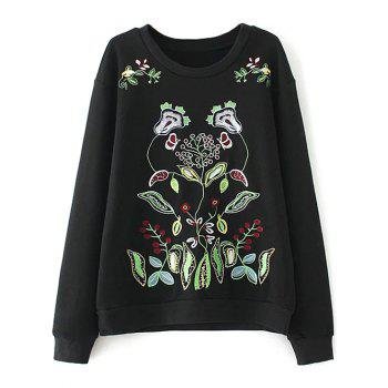 Double Embroidered Plus Size Sweatshirt