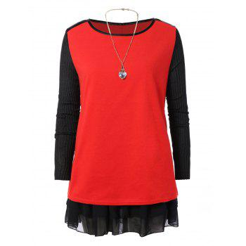 Knit Sleeve Flounce Mini Dress
