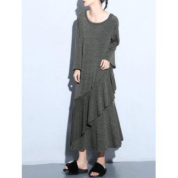 Flounce Long Sleeve Tea Length Dress
