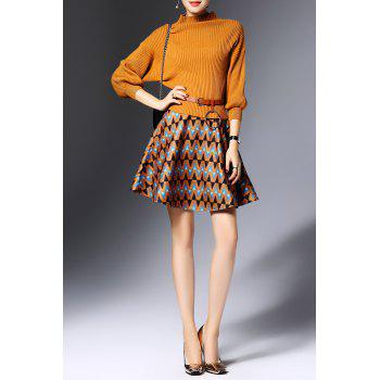 Ribbed Sweater with Zig Zag Skirt - EARTHY M