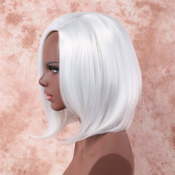 Fancy Medium Side Bang synthétique blanc perruque de capless pour les femmes - Blanc