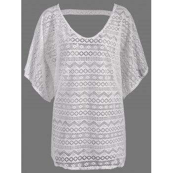 Backless Mesh Beach Tunic Cover Up - WHITE ONE SIZE