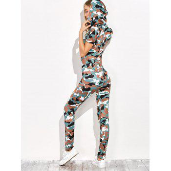Zip Ripped Camo Hooded Jumpsuit - ARMY GREEN CAMOUFLAGE L