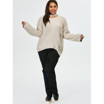 Plus Size Pullover Ripped Sweater - LIGHT GRAY XL