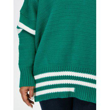 Plus Size V Neck Cricket Striped Sweater - GREEN XL