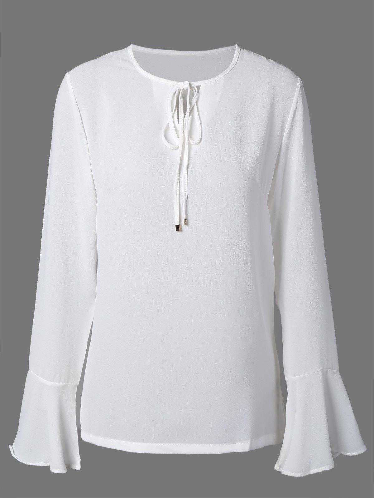 Plus Size Tie Front Chiffon Flare Sleeve Blouse inc new bright white women s size small s tie front button up blouse $59 461