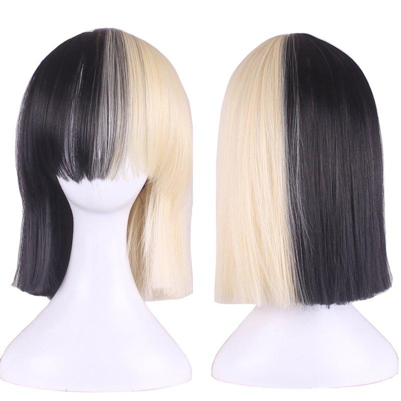 Short Full Bang Straight Double Color Bobs Sia Cosplay Synthetic Wig