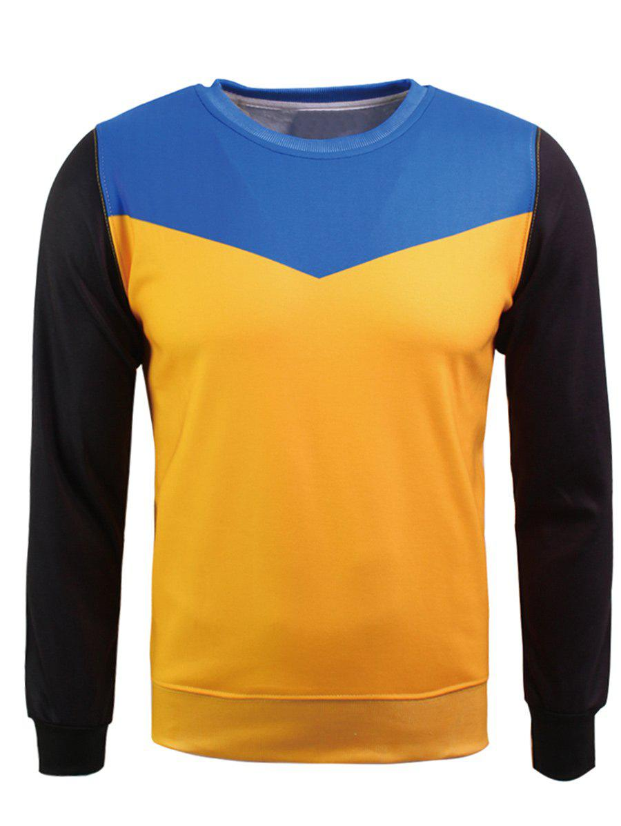 Sweat-shirt en flocage en couleur jointive à col rond - multicolore L