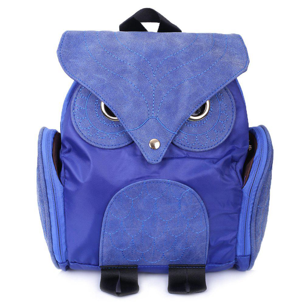 Stylish Owl Shape Solid Color Design Satchel for Women - BLUE