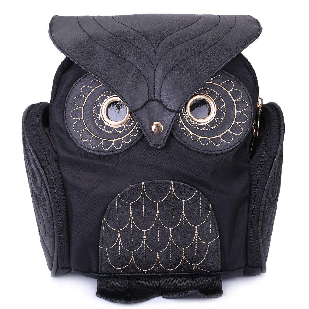 Stylish Owl Shape Solid Color Design Satchel for Women - BLACK