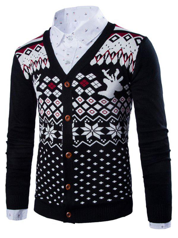 все цены на Button Front Deer Snowflake Christmas Cardigan