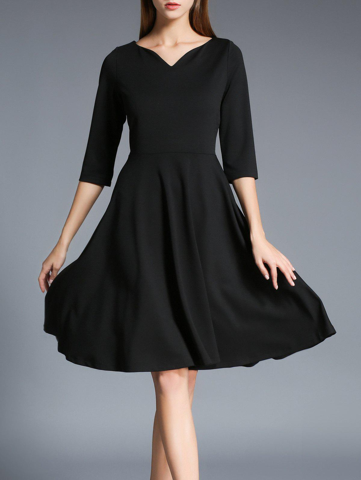 Half Sleeves Flare Dress - BLACK 2XL
