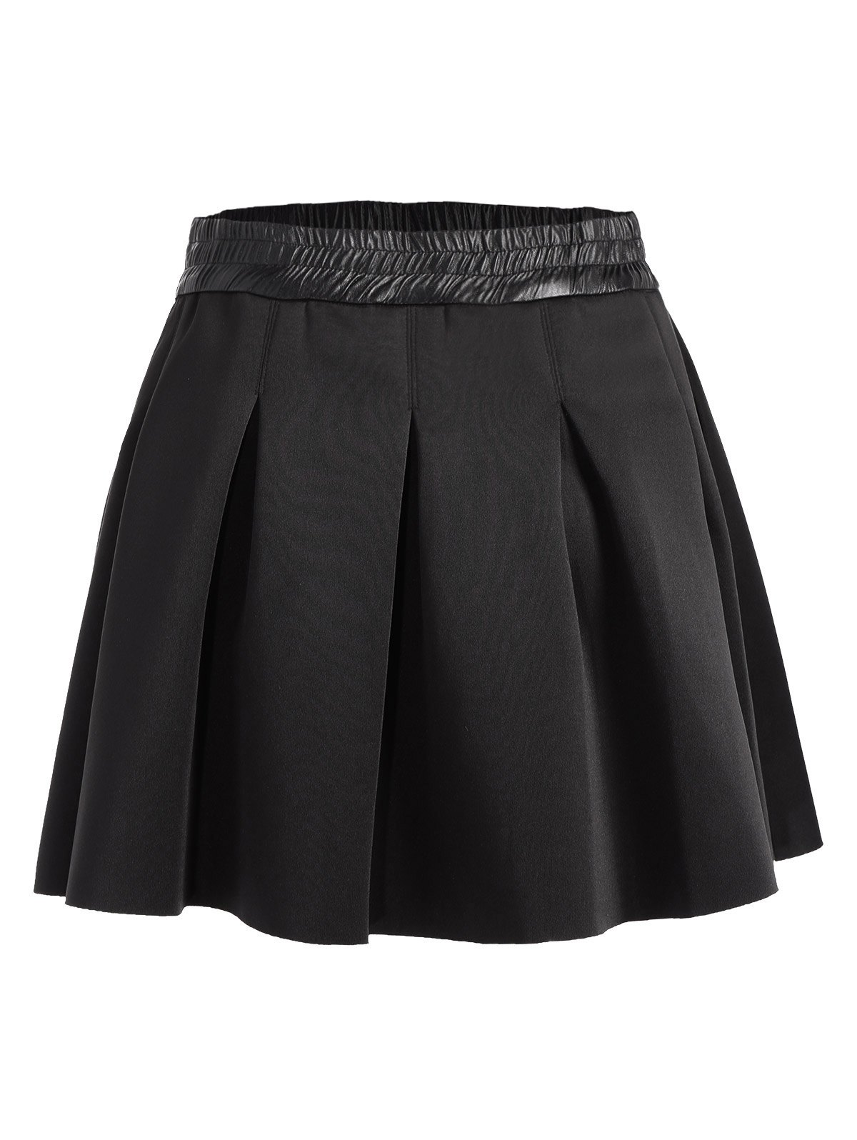 High Waisted Ruched Mini A Line Skirt - BLACK M