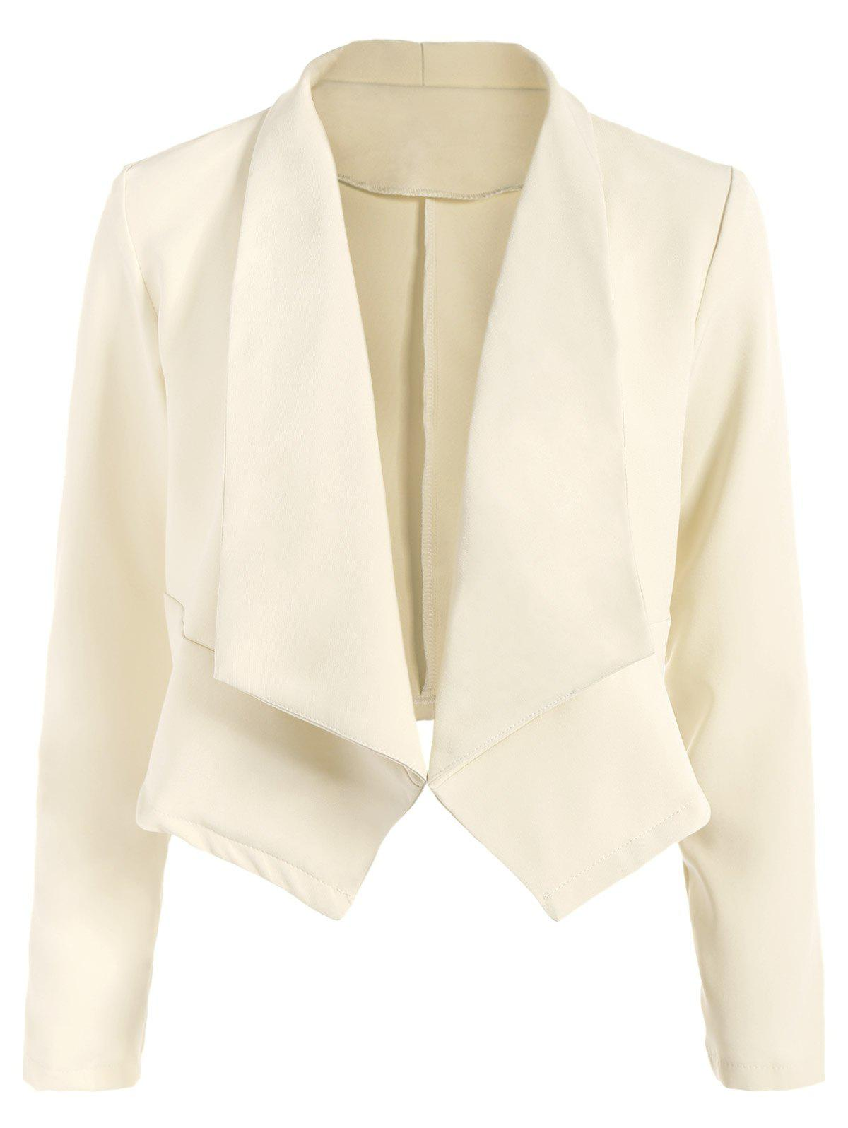 Open Front Shawl Collar Blazer - OFF WHITE M