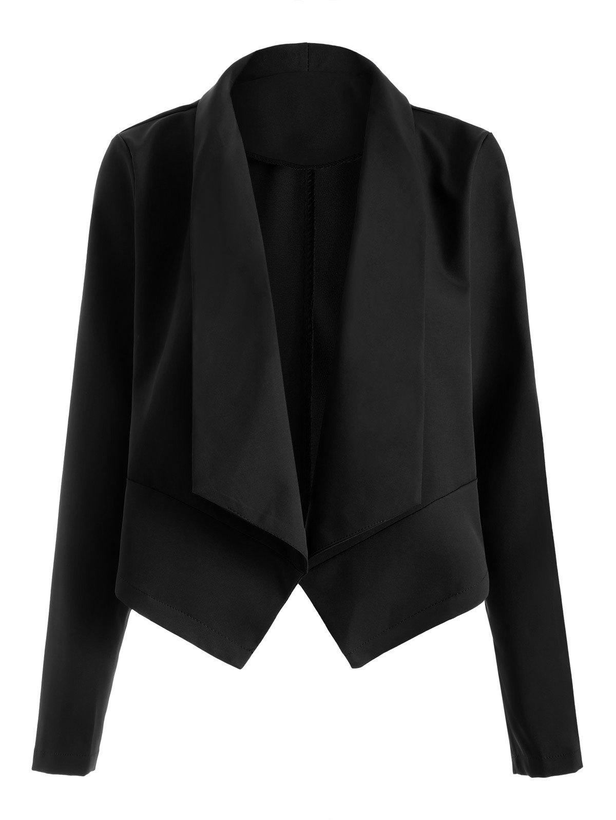 Open Front Shawl Collar Blazer - BLACK L