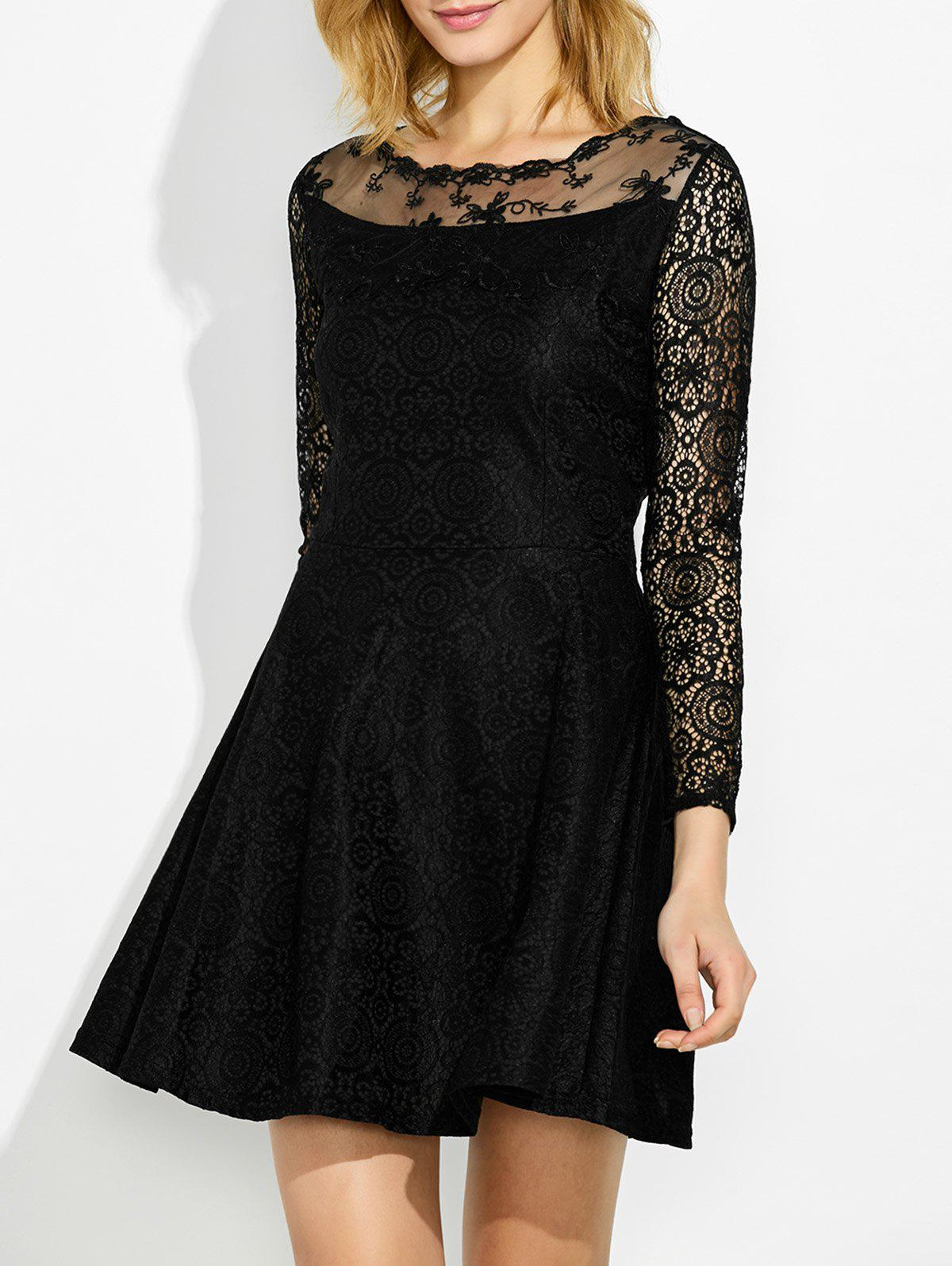 Fit and Flare Lace Trim DressWomen<br><br><br>Size: S<br>Color: BLACK