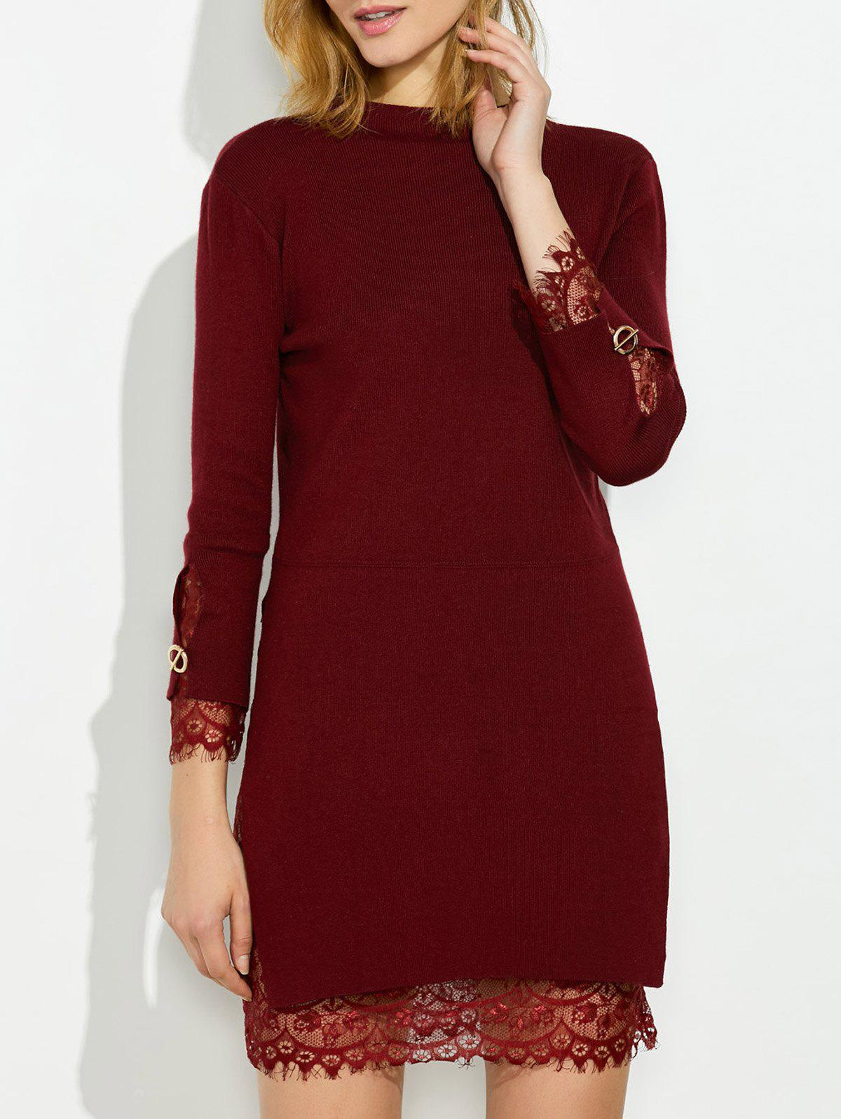 Mock Neck Knitted Layered Sweater Dress With Lace Trim mock neck floral embroidered sweater