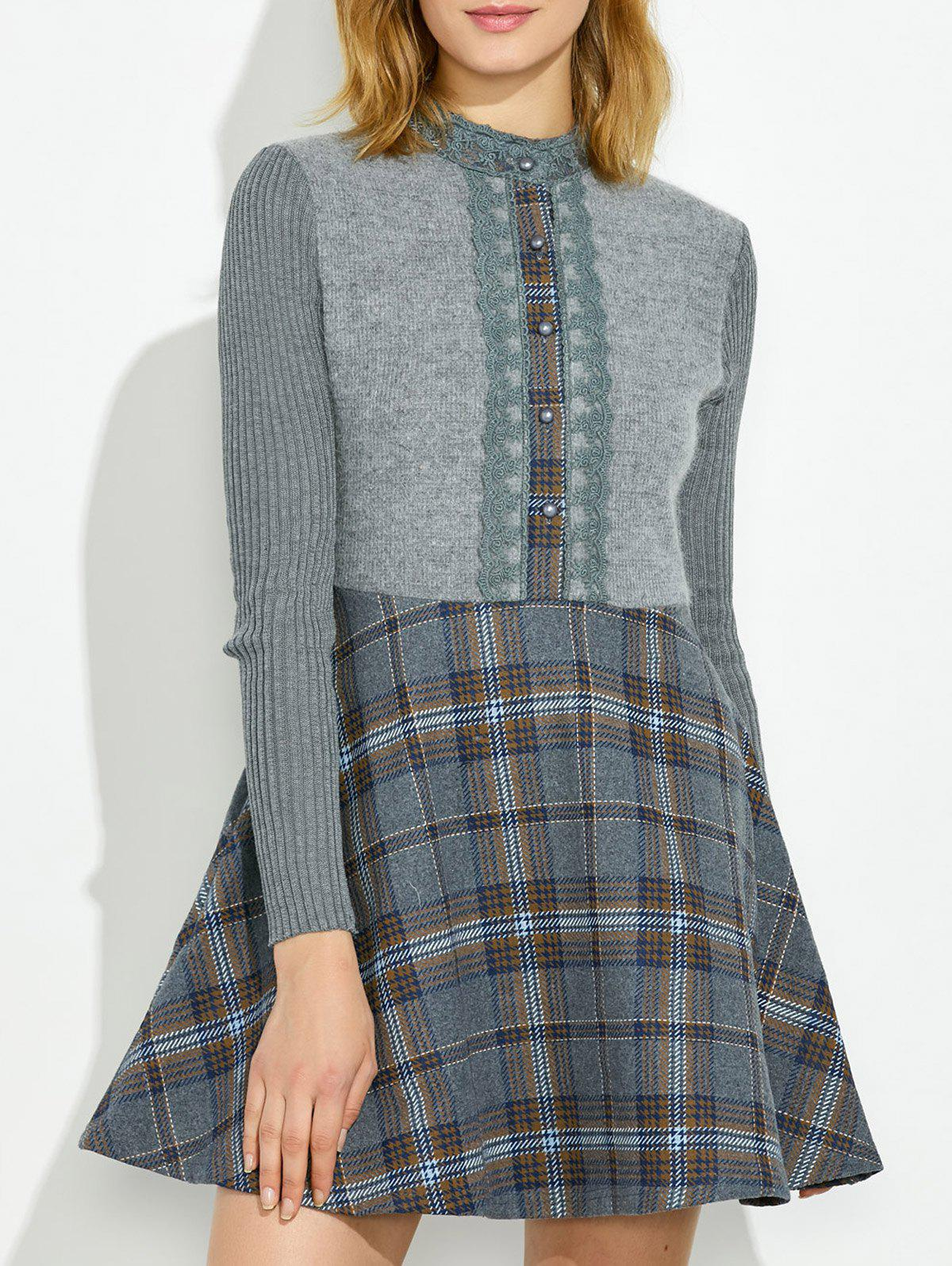 Plaid Insert Knit Fit and Flare DressWomen<br><br><br>Size: L<br>Color: KHAKI
