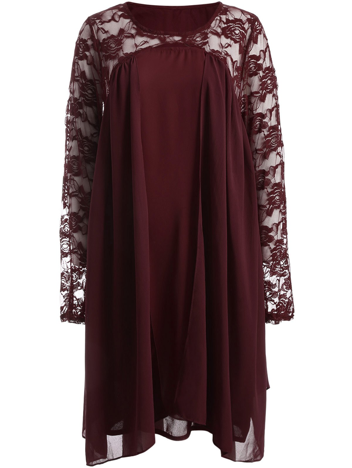 Plus Size Long Sleeve Lace Insert Shift Dress - RED 3XL