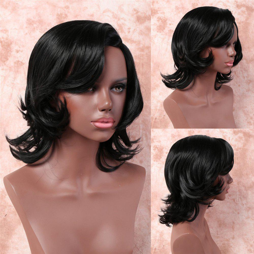 Medium Layered Slightly Curled Side Bang Synthetic Capless Wig