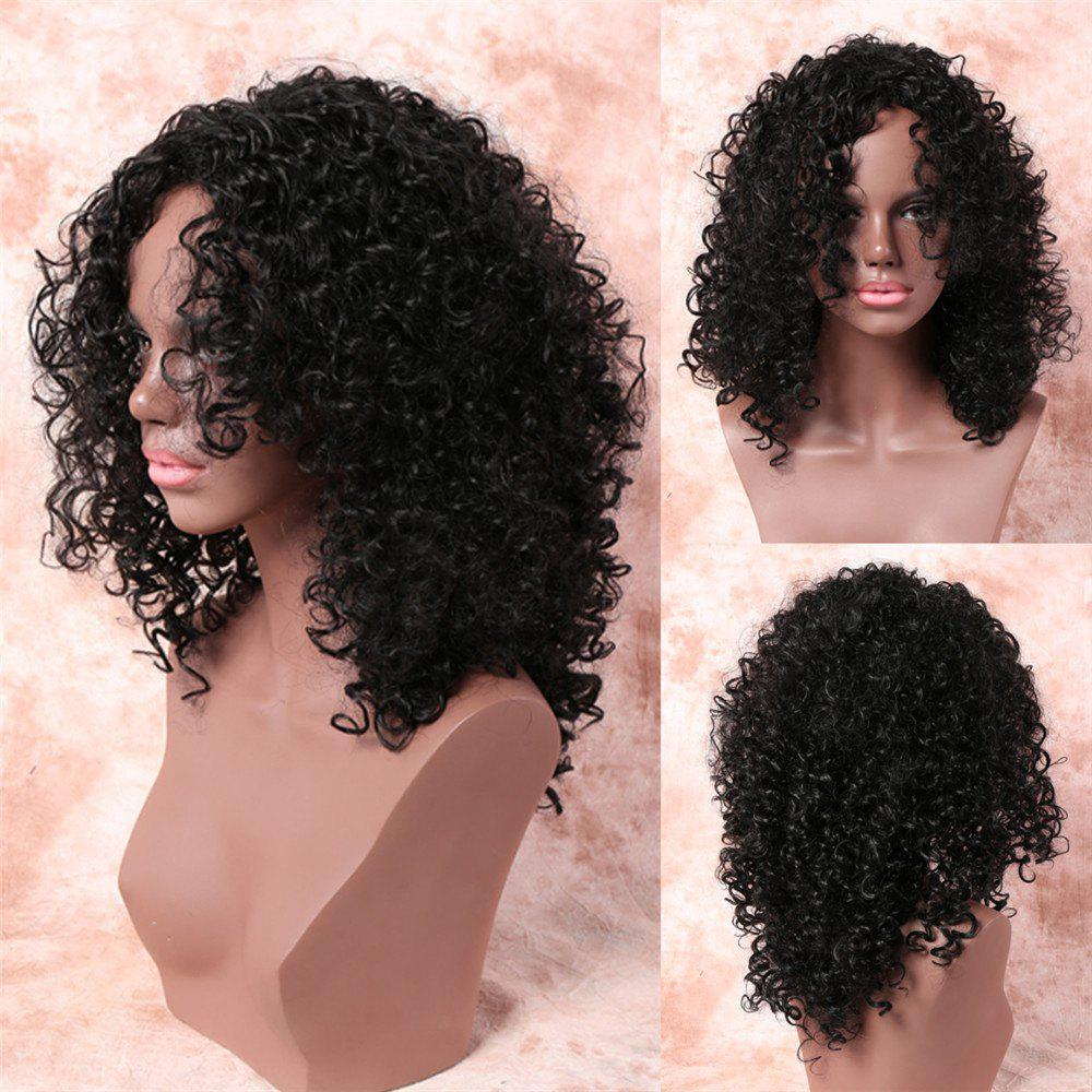 Women's Fashionable Medium Side Bang Black Afro Curly Synthetic Hair Wig - BLACK