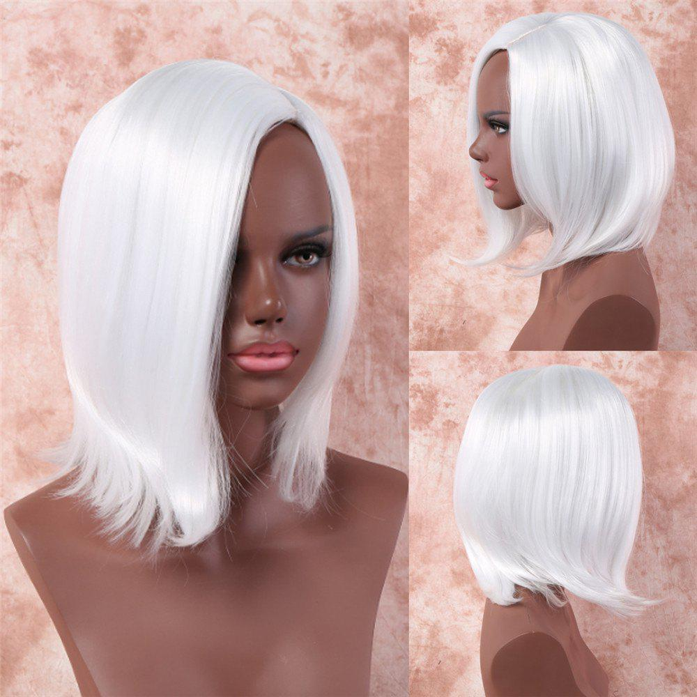 Fancy Medium Side Bang Synthetic White Straight Capless Wig For Women silver dreams серьги