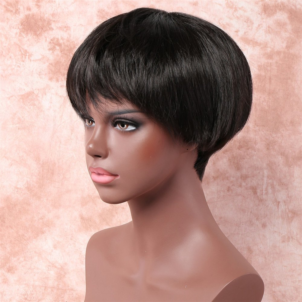 Women's Stylish Synthetic Side Bang Short Boy Cut Wig - BLACK