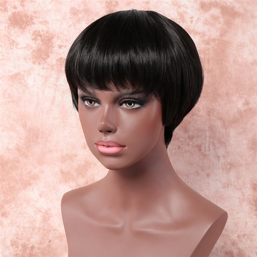 Vogue Short Straight Black Synthetic Ultrashort Full Bang Capless Wig For Women - BLACK