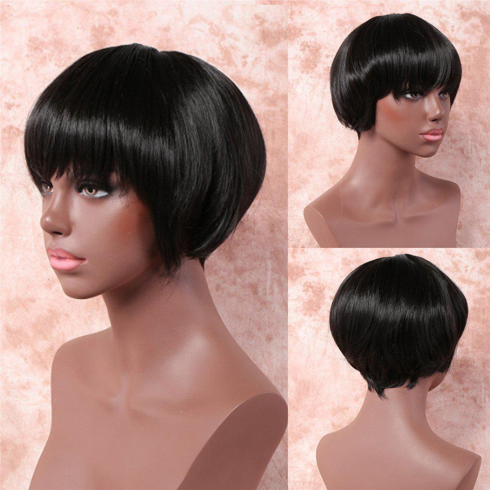 Bob Style Black Capless Synthetic Stylish Short Straight Wig For Women - BLACK