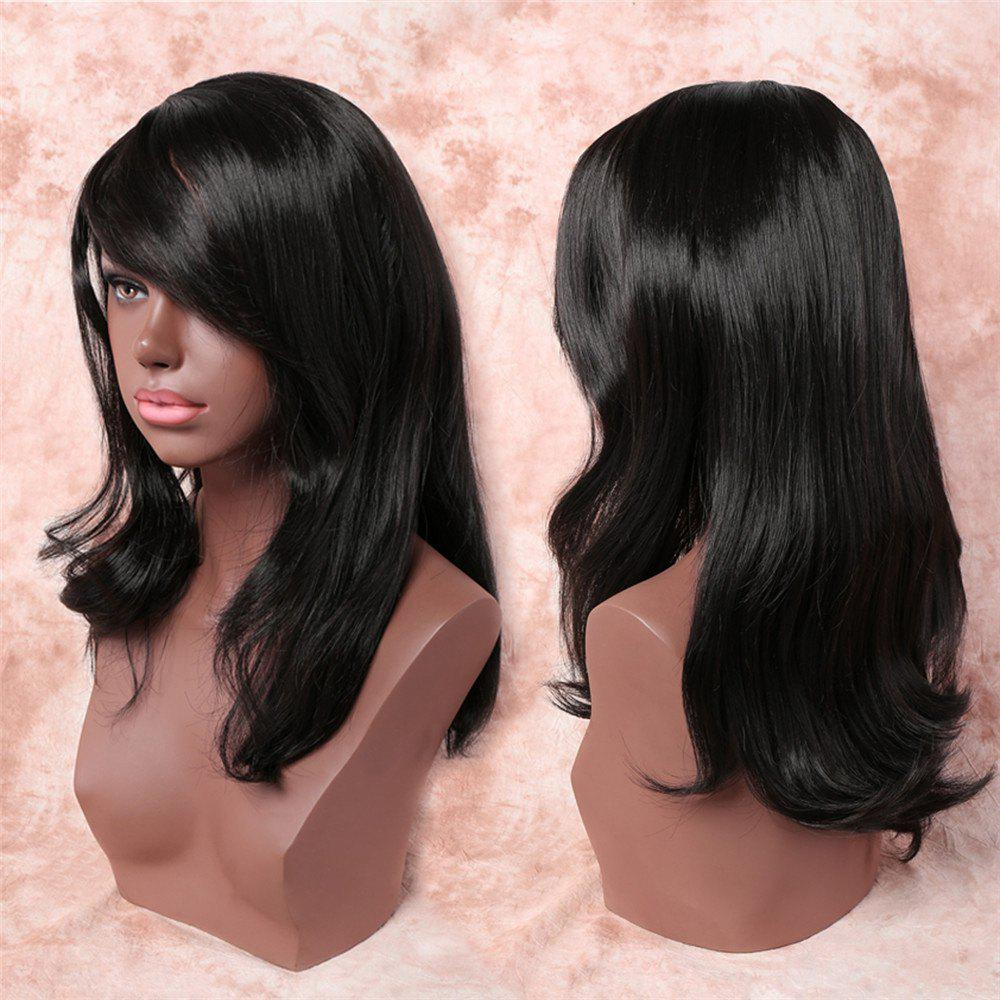 Noble Black Side Bang Synthetic Trendy Straight Tail Adduction Long Adiors Wig For Women - BLACK