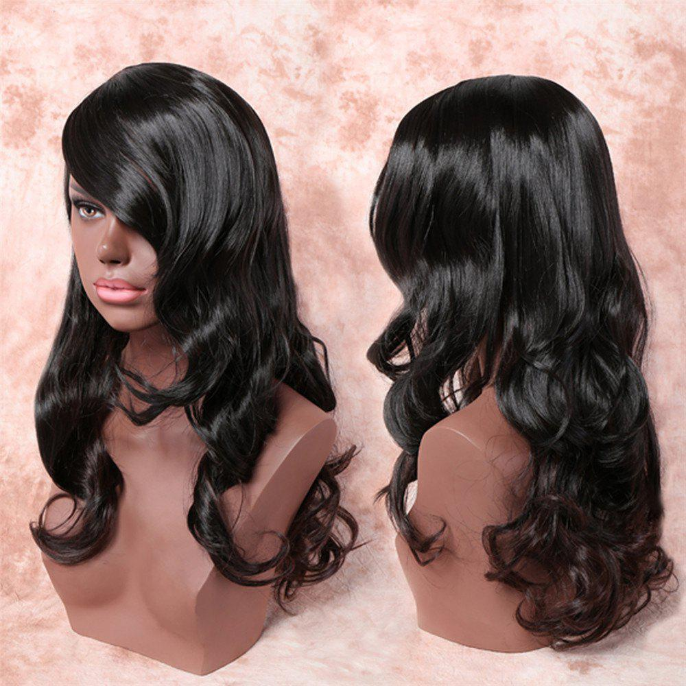 Charming Black Ombre Light Brown Long Synthetic Fluffy Wavy Women's Capless Adiors Wig - BLACK/BROWN