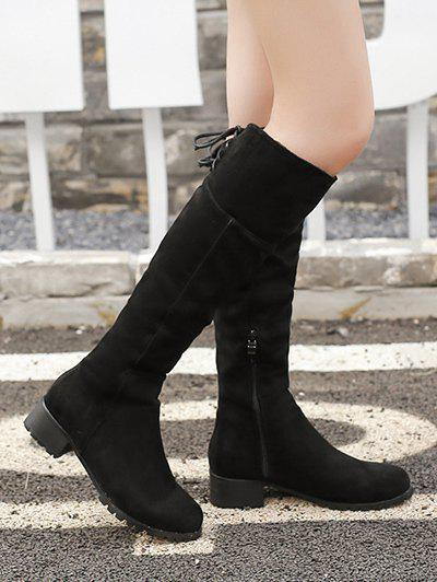 Lace Up Chunky Heel Round Toe Boots - BLACK 39