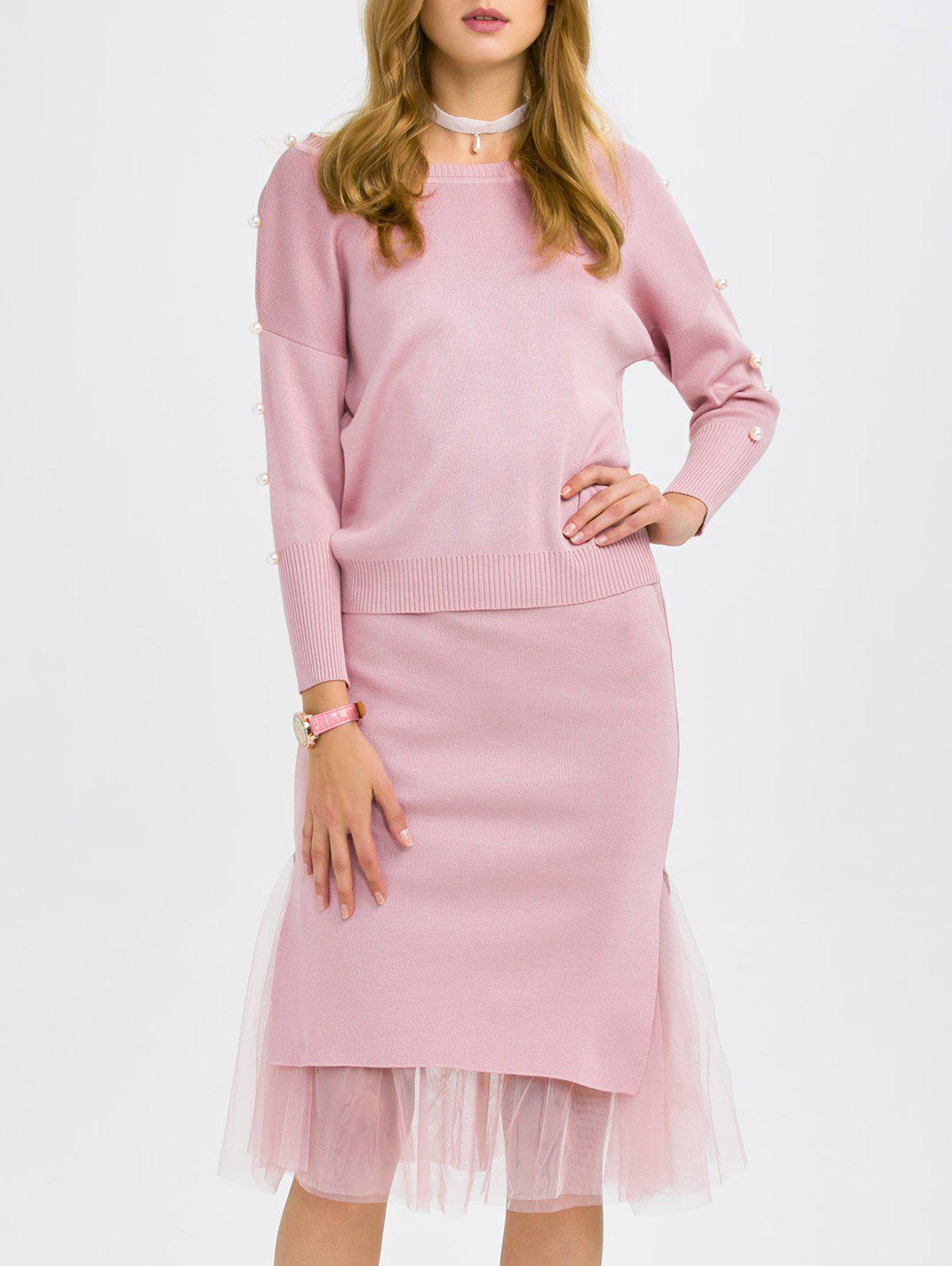 Faux Pearl Knitwear and Midi Fishtail Skirt - PINK ONE SIZE