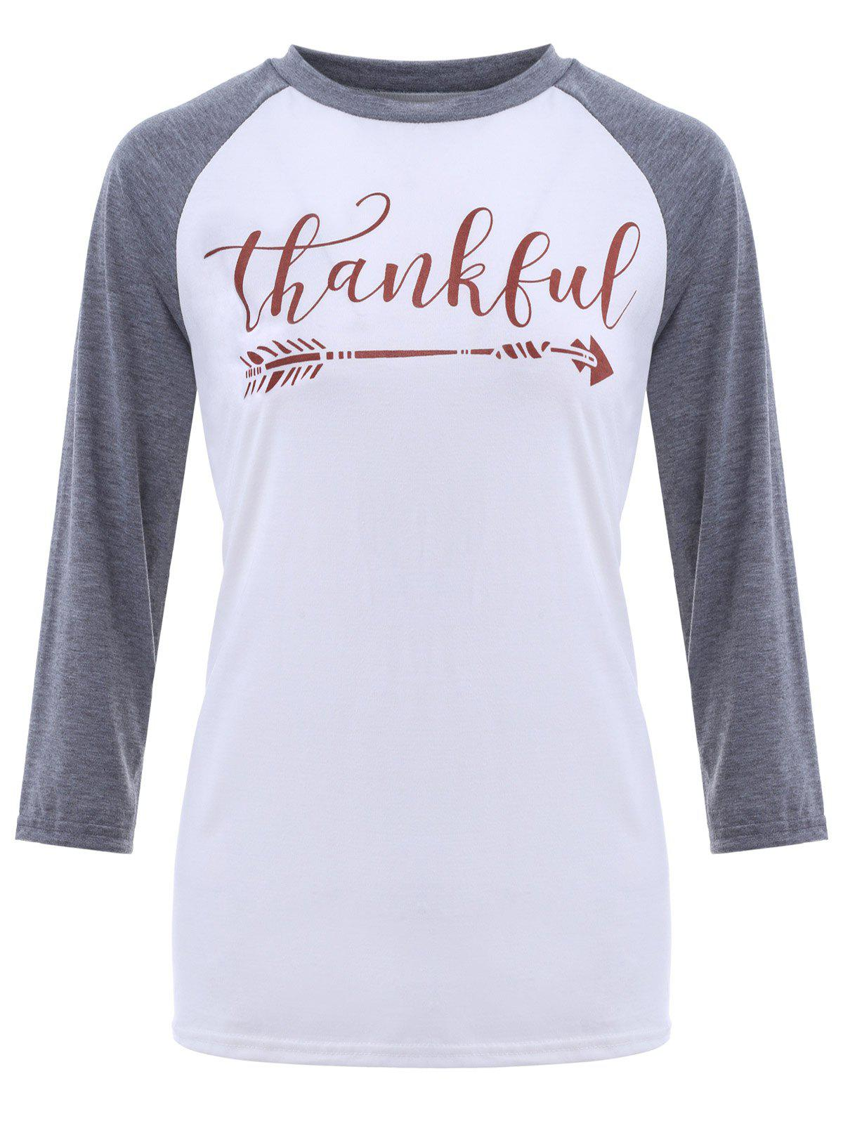 2018 crew neck thankful graphic baseball t shirt grey for T shirt graphics for sale