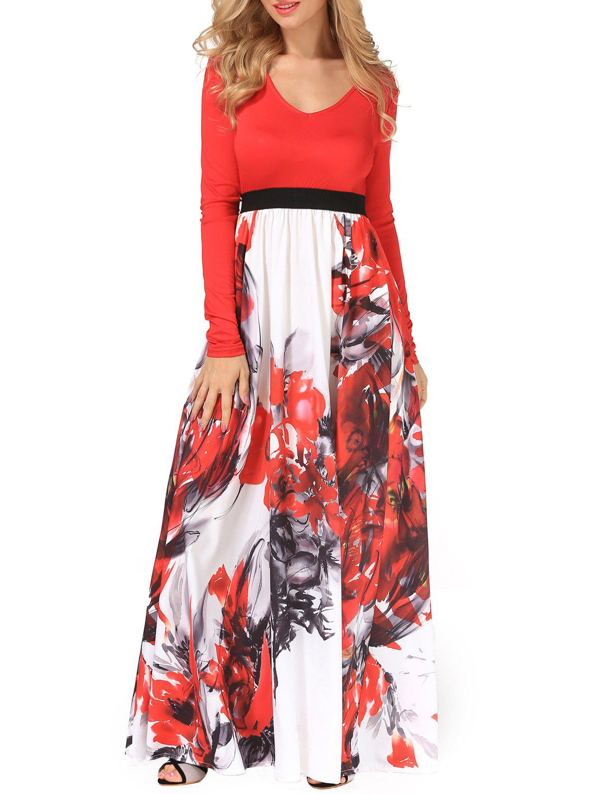 V Neck Flower Painting Maxi Flowing Dress - RED XL