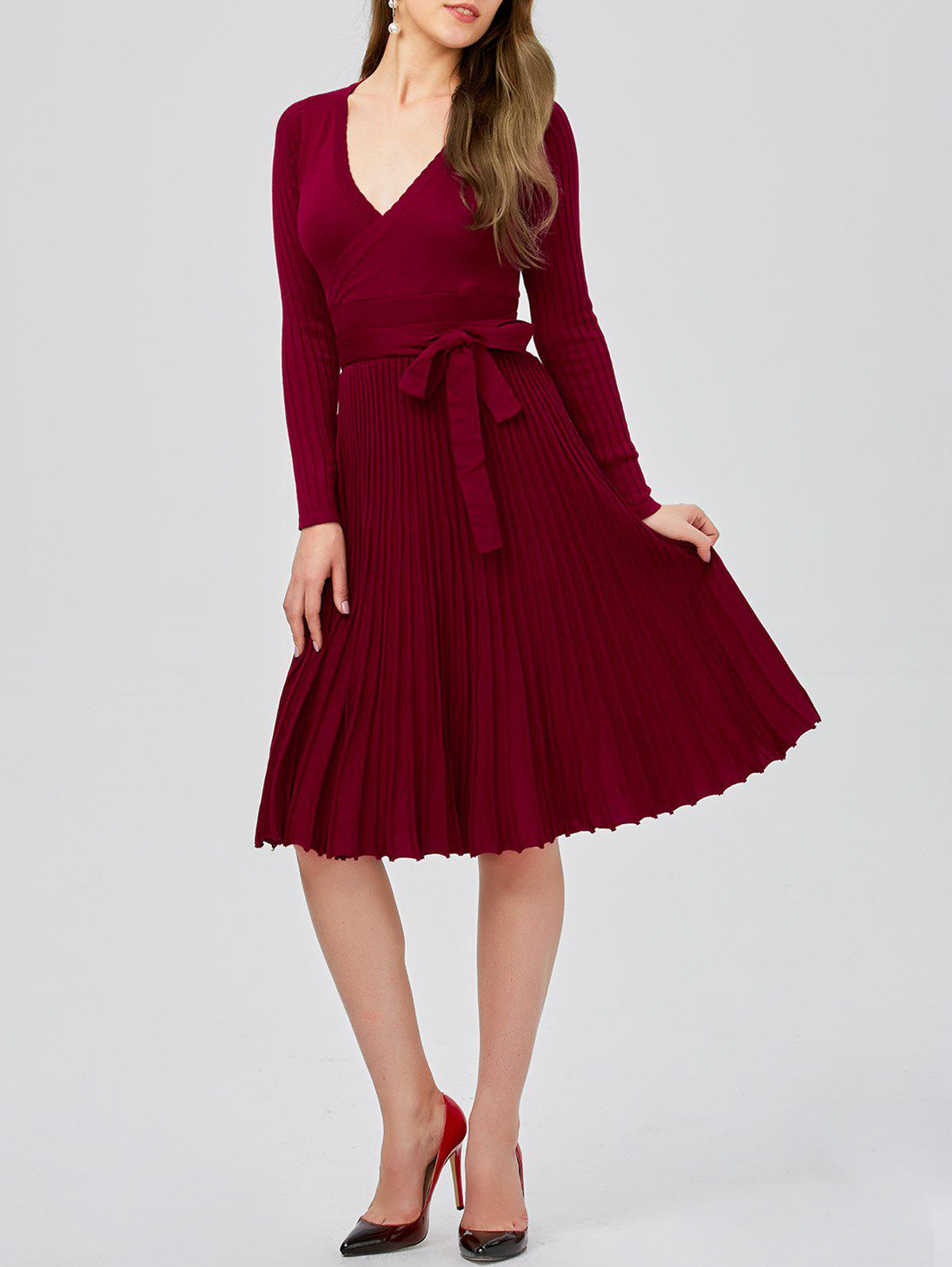 Plunging Neck Long Sleeve Jersey Skater Sweater Dress - BURGUNDY ONE SIZE