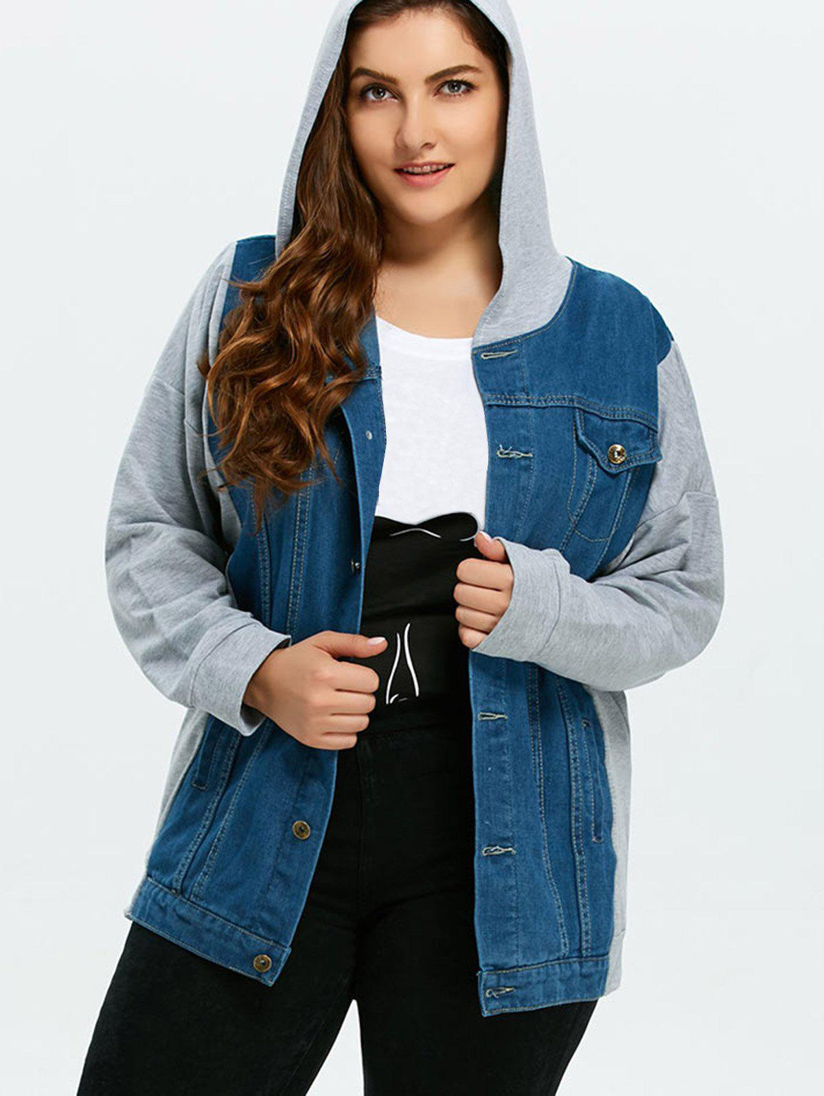 Plus Size Denim Trim Hooded JacketWomen<br><br><br>Size: 3XL<br>Color: GRAY AND BLUE