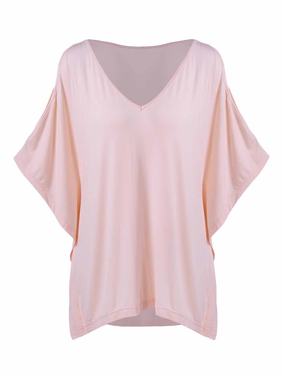 Plus Size Batwing Sleeve Smock T-Shirt - SHALLOW PINK 5XL