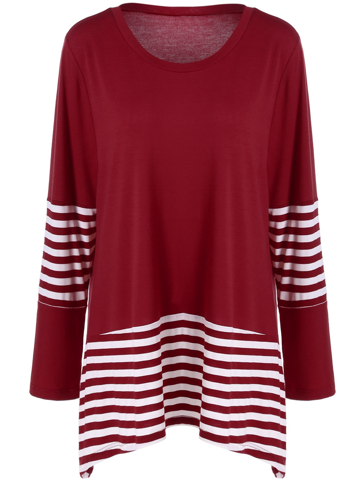 Plus Size Striped Panel T-Shirt - RED/WHITE 2XL