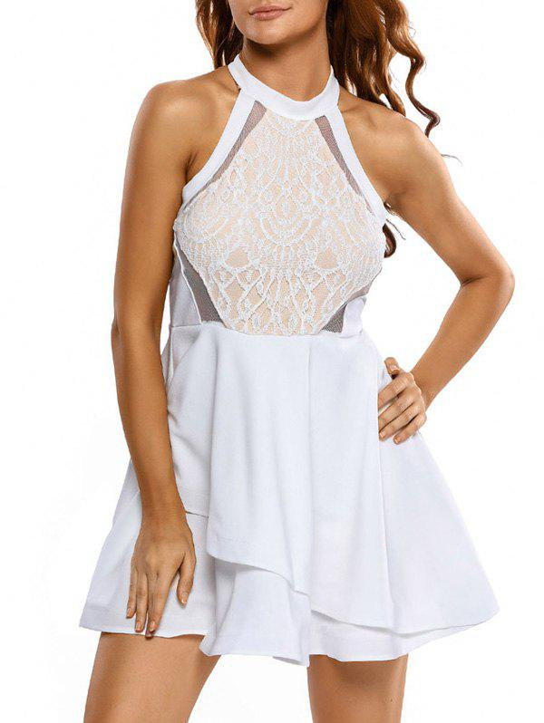 Lace Panel Flounce Mini Skater Cocktail Dress - WHITE XL